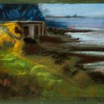 Cuadro Orilla de la playa en tonos ocres del concurso internacional de pintura de Down Madrid